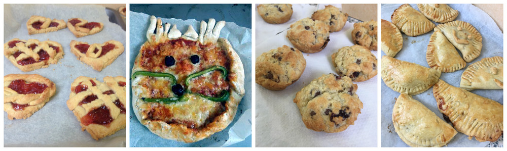 Some of the week's recipes! Queen of Hearts Jam Tarts, Mad Hatter Pizzas, Mrs Fox's Fruit Loaf and Cornish Pixie Pasties