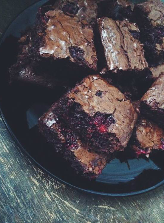 Coconut, Raspberry and Chocolate Brownies, courtesy of Jess.