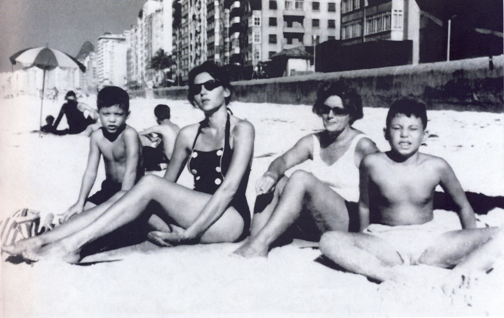 Clarice + sons on Copacabana in Rio in 1959