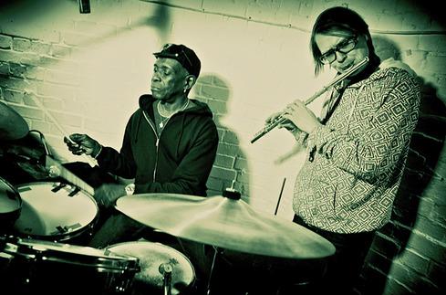 Jimi and Fela Kuti's drummer Tony Allen in the studio.