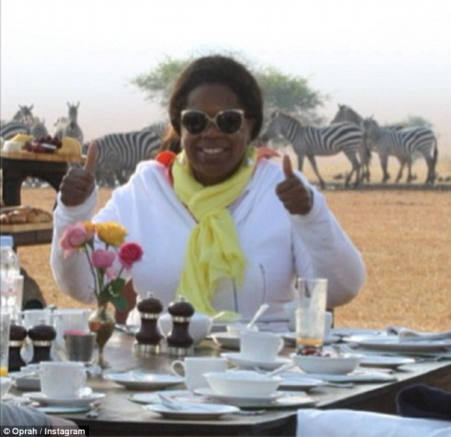 Hungry: Oprah feasting on the Serengeti