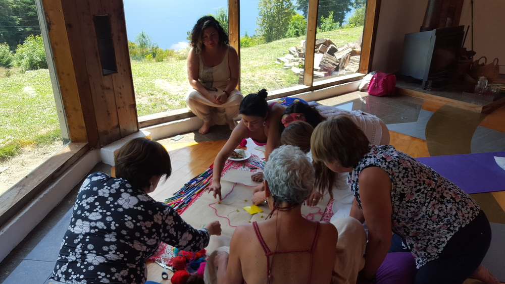 Lexie during an art therapy group session at women's retreat, Lake Rupanco, southern Chile. January 2016