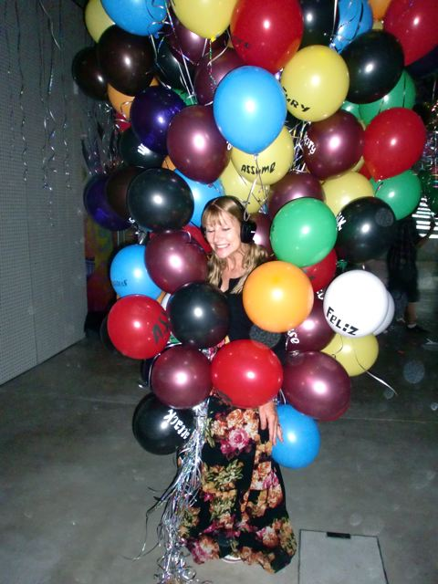 Mooms dancing in a tree of balloons. As you do!