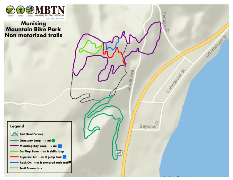 Map of Hillside Trails in Munising Jan 2017. Access is up the hill behind Hillside Party Store.