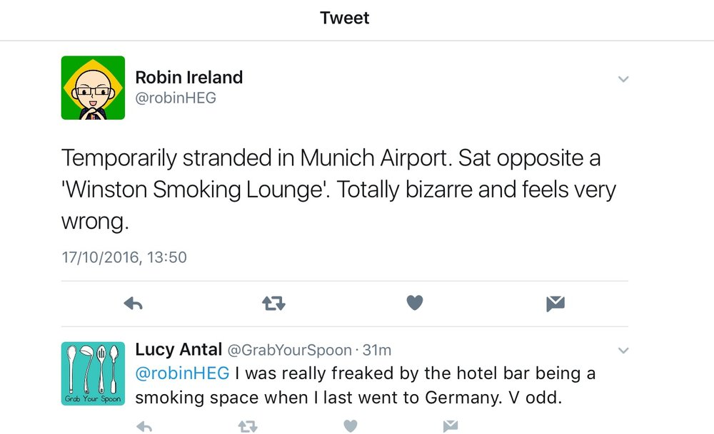 "Robin posted this earlier... cos having somewhere smokers can go that isn't mixed with ""the public"" is ""bizarre"""