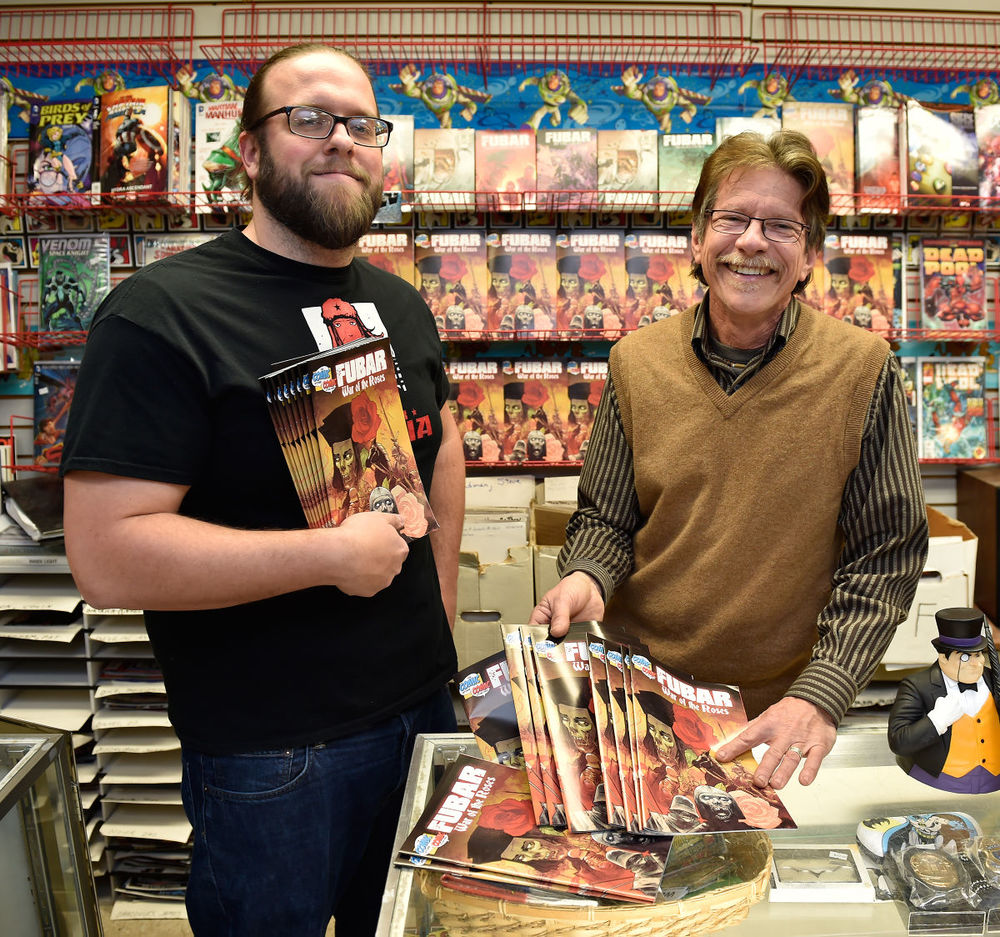 Artist / Writer Jeff McComsey (left), The Comic Store owner Joe Miller (right)