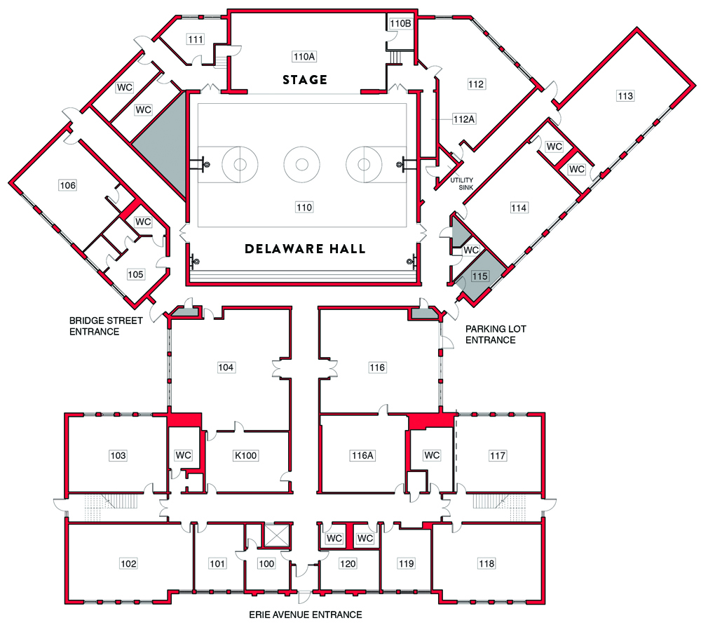FIRST FLOOR PLAN WITH DELAWARE HALL