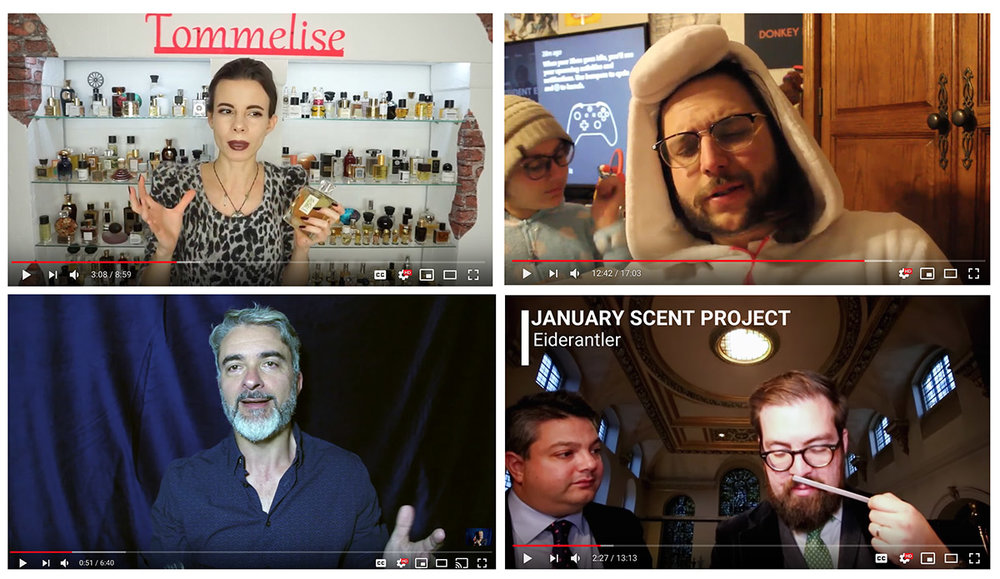 Collection of Vloggers from YouTube: Tommelise, Joey Cannoli, The Scentinel, Wafts From the Loft