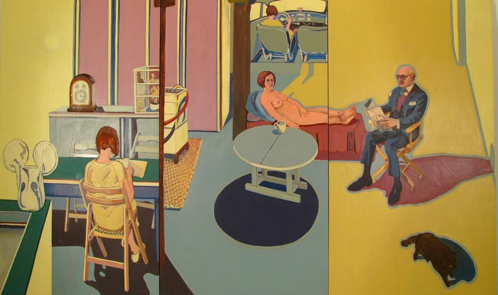 """NYC. Triptych w. Andre '68 84x138"""" o/c"""