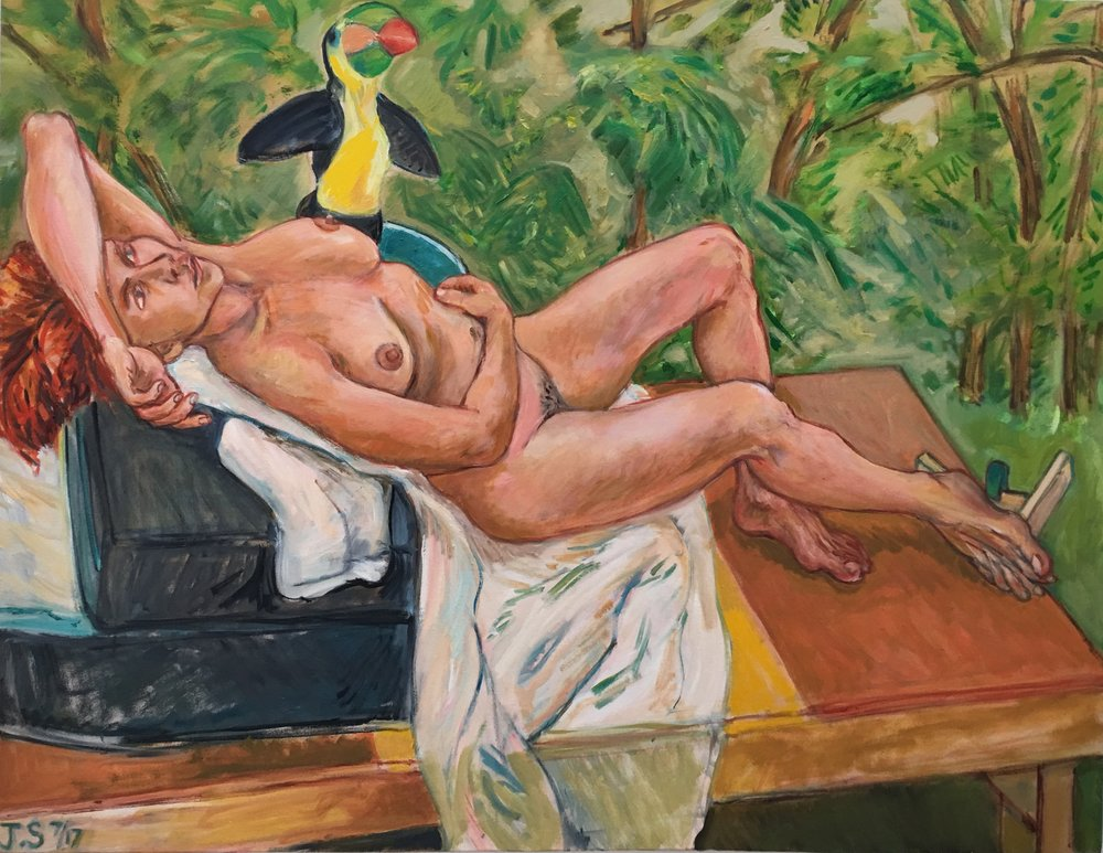 "C. After Courbet's Woman with Parrot '17  42x54""  o/c."