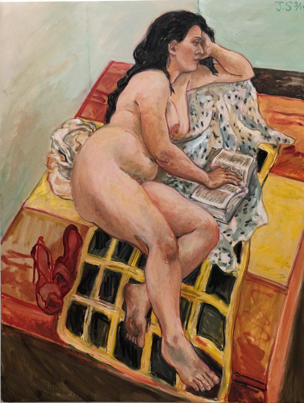 "Katalin Reading 3/'19  54x42""  oil/c"