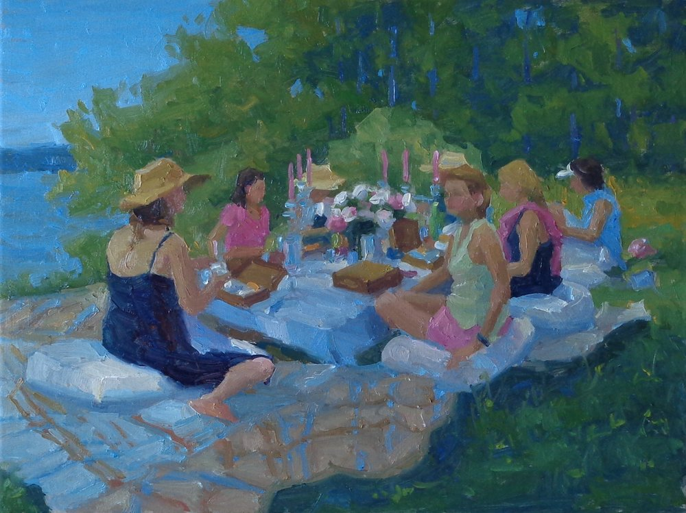 Still Life with Peonies and Seven Lovely Ladies by David Elsea - 2018