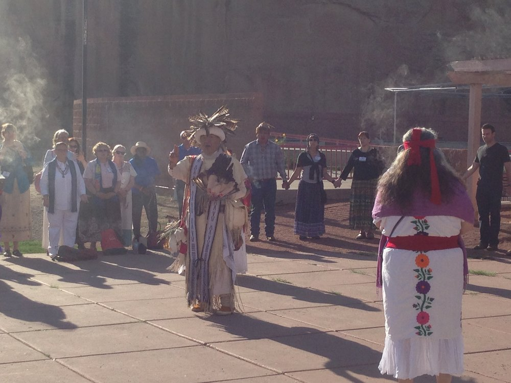 The Native Americans wore traditional outfits...