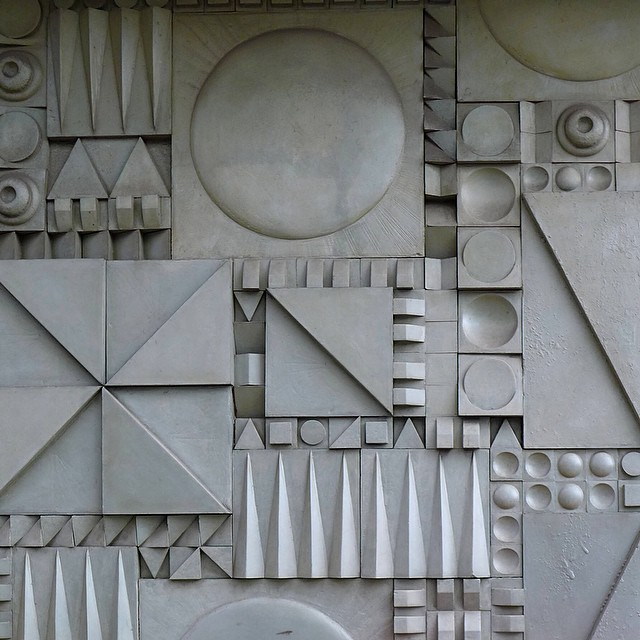 theimportanceofbeingmodernist :    Geometric Fibreglass relief, Commercial Road, London.    © 2015 Alex James Bruce     The Importance of Being Modernist :  Facebook  |  Twitter  |  Instagram