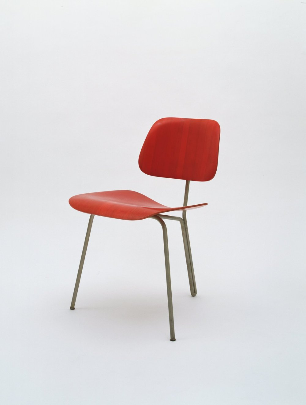 moma :     Designer  Ray Eames , born today in 1912, studied painting with Hans Hoffmann in the 1930s.   [Charles Eames, Ray Eames. Three-Legged Side Chair. c. 1944]