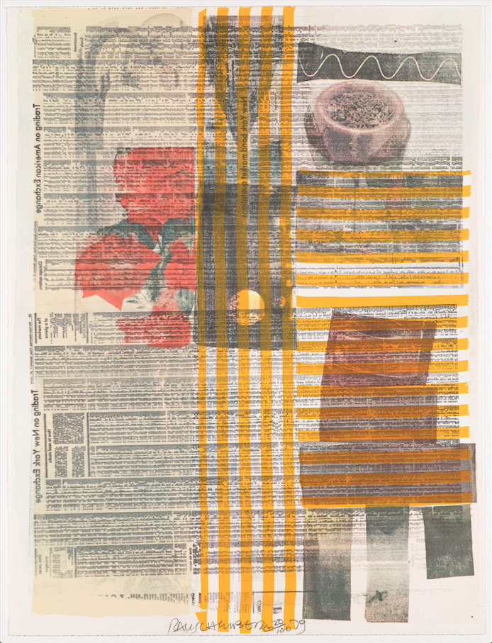 moma :      Robert Rauschenberg , born today in 1925, often used newsprint in his work. Here, he utilized the stock pages.   [Robert Rauschenberg.  One More and We Will Be More Than Half Way There . 1979]