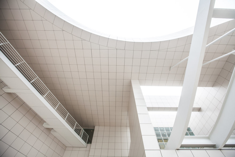 thegetty :     Beautiful work by architect Richard Meier! The curves at the entrance of the museum are designed to soften the grids created by the travertine squares.