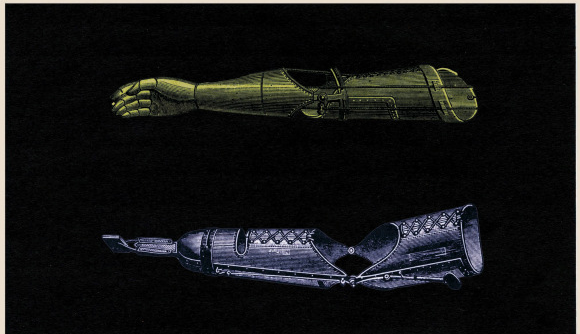 Two sketches of prosthetic arms, one with a prosthetic hand and one with a hook.