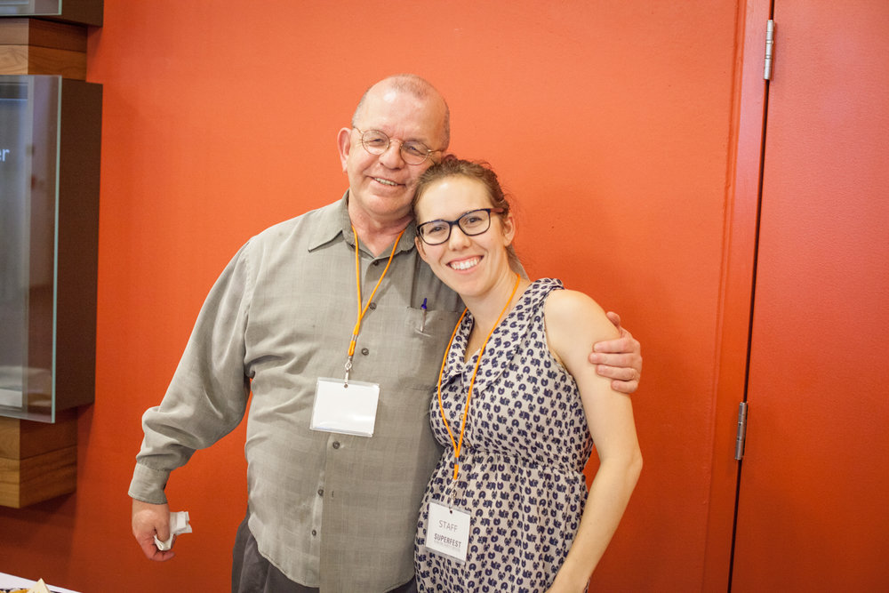 Festival coordinator Dagny Brown and LightHouse employee Chuck Godwin