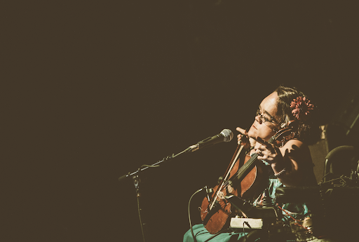 Shot of Gaelynn Lea Performing with a violin on stage in front of a microphone