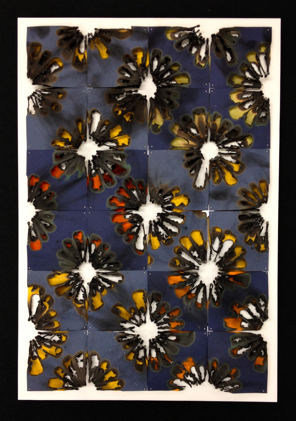 Burn Quilt (Blue/Orange/Anis),  Burnt Paper, 2014