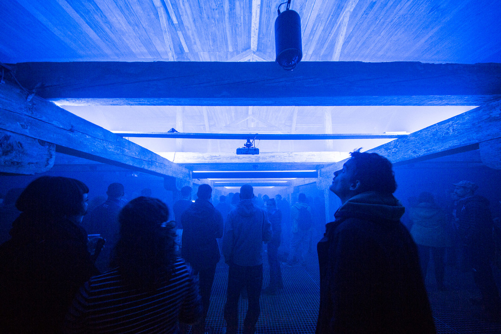 Nikki Hock's diffused, enveloping light design working with (multiple) single colour neons