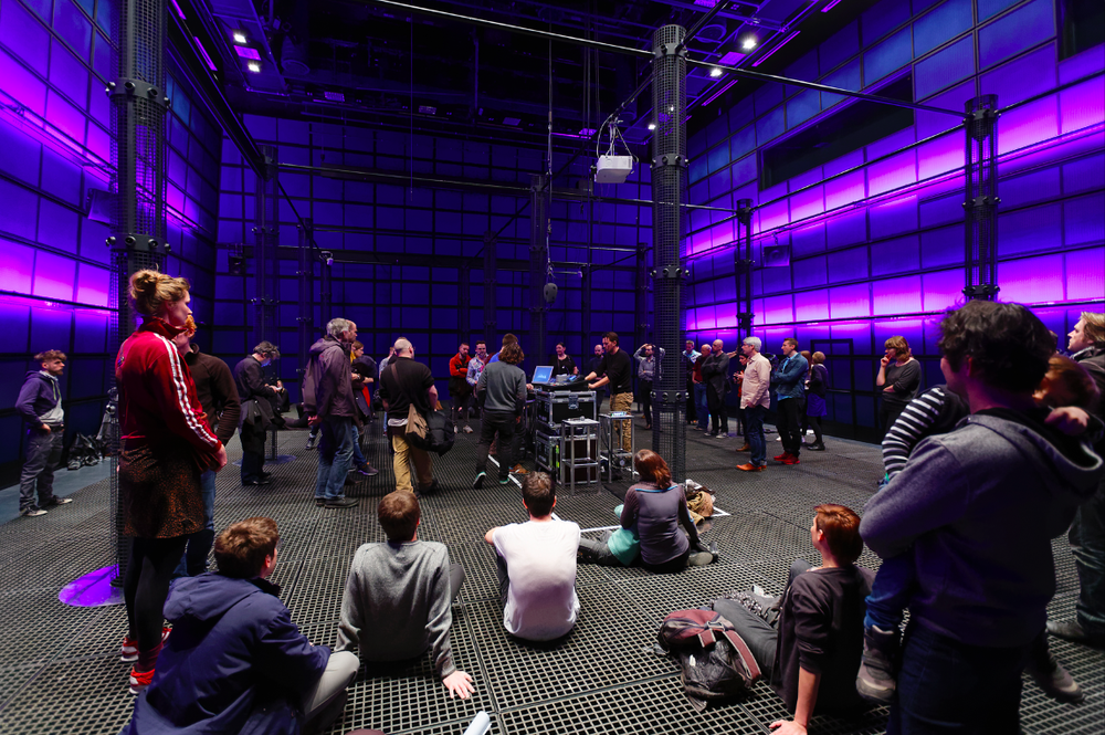 The hacklab participants and visitors listening to the performances at the Medientheater, ZKM, in Karlsruhe. Credit: ONUK