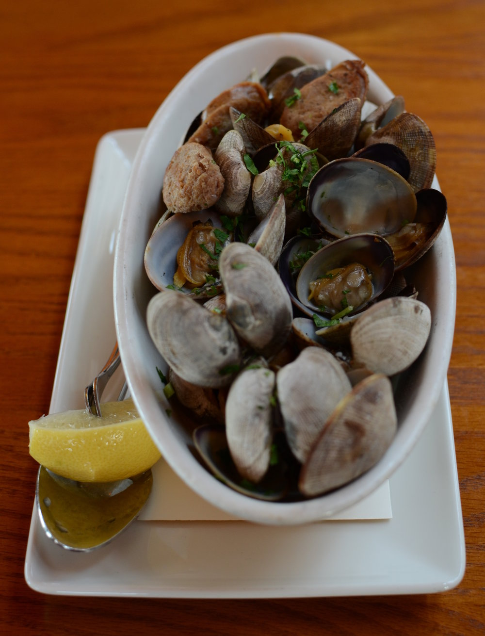 Mens Room Original Sausage & Red Ale Manila Clams