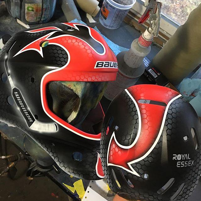 Workin.....this little guy wanted his stick on his mask. So cute • • • • • • • #goaliemask #custom #nhl #airbrush #art #instagood #live #love #maskart #bauer #ccm #vaughn #hockey #icehockey #goaltender #goals #goal #pads #gear #nj #royalessex #montclair  #puck #play #block #save #helmetart #helmet #custombike @blockaid1 @njdevils @kdaneyko3 @martinbrodeur @bauergoalie #royalessexgoalie