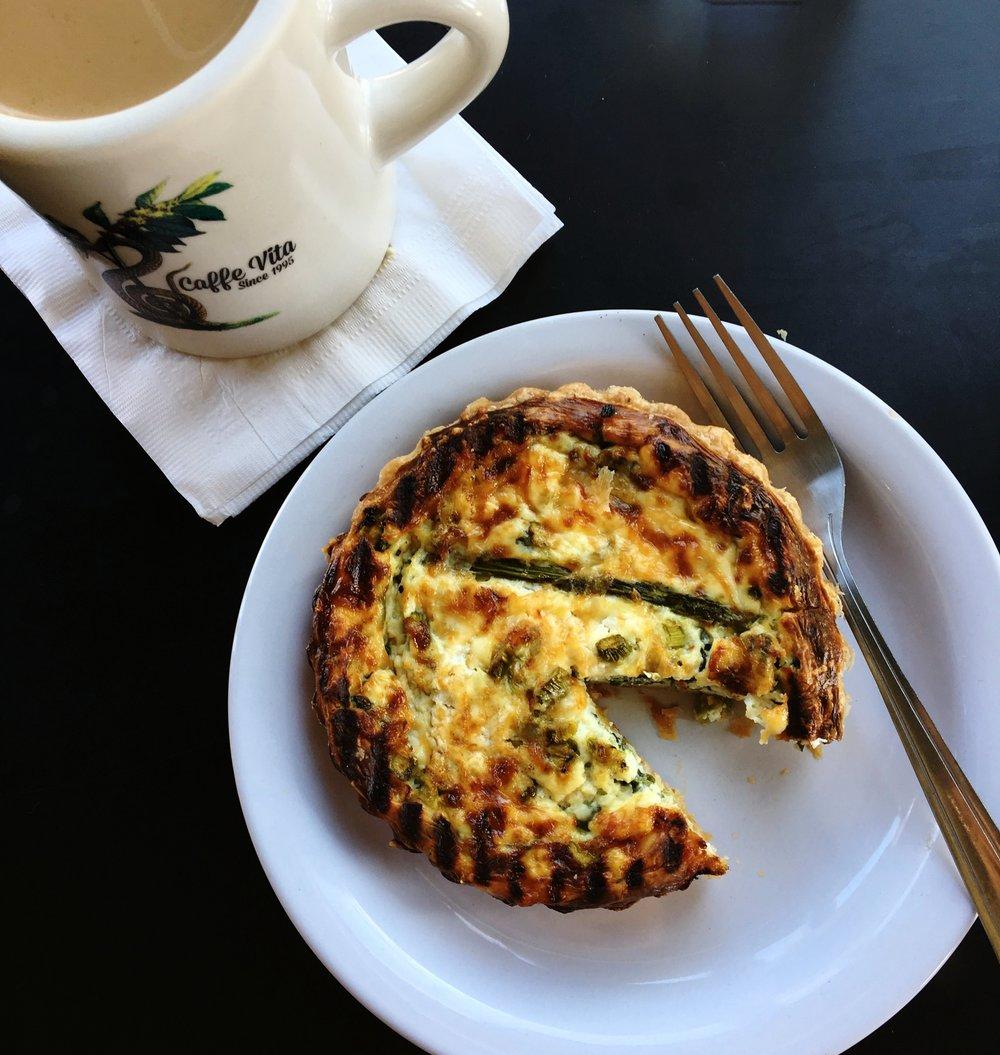 Caffe Vita makes an amazing asparagus quiche.