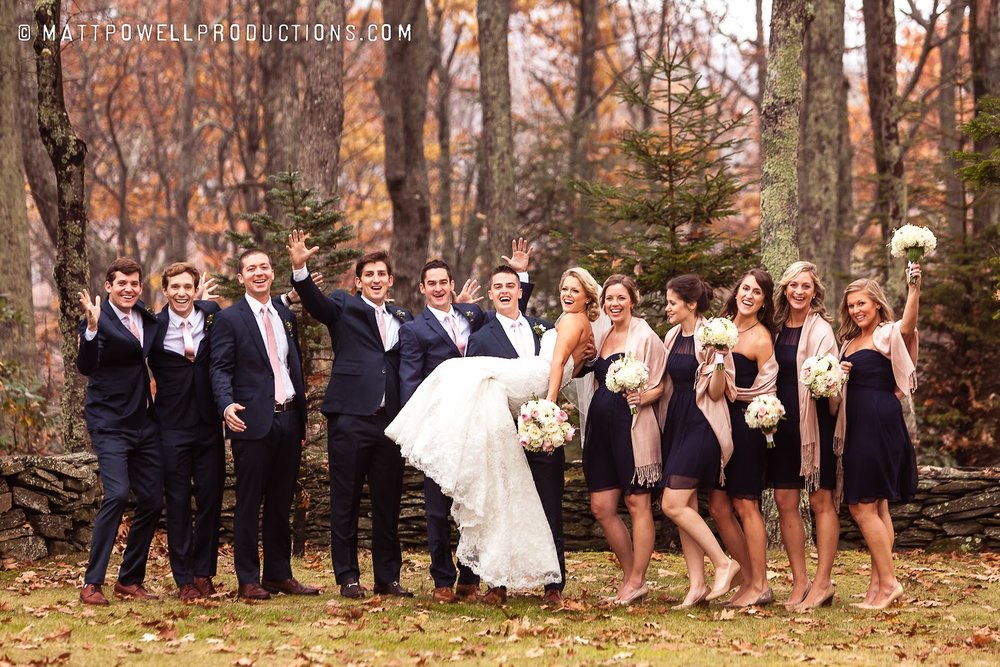 Wedding party celebrating together with fall colors