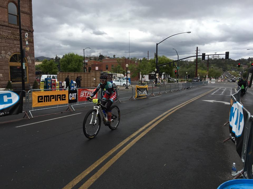 Pedaling to the finish line under threatening skies