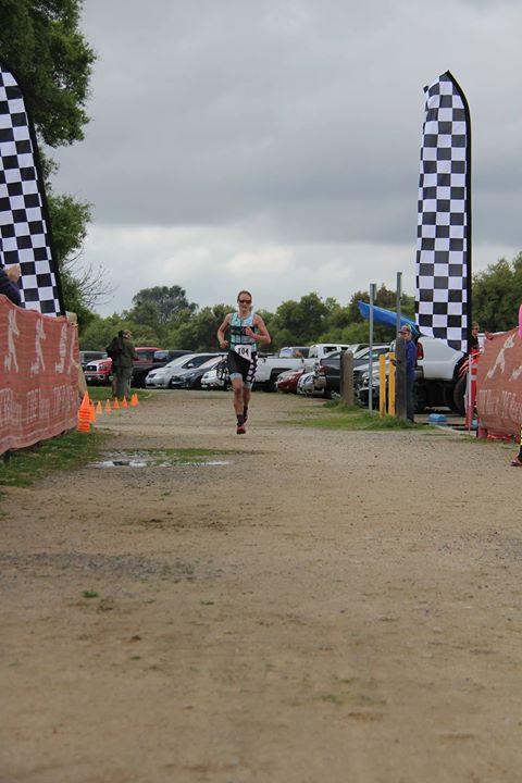 Running in to the finish for the age group win and 3rd female overall. Thanks Craig Dvta for the pic!