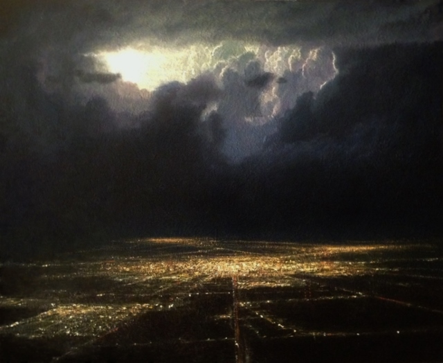 sold  Thunderstorm over the Midwest from a Plane Window , 16x20 oil on canvas.jpg