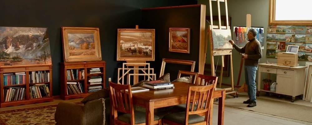 Andrew working in his studio