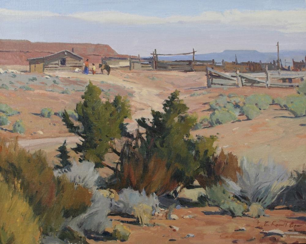 Road To The Corrals      16x20 - oil on linen, landscape, prix de west, painting, oil