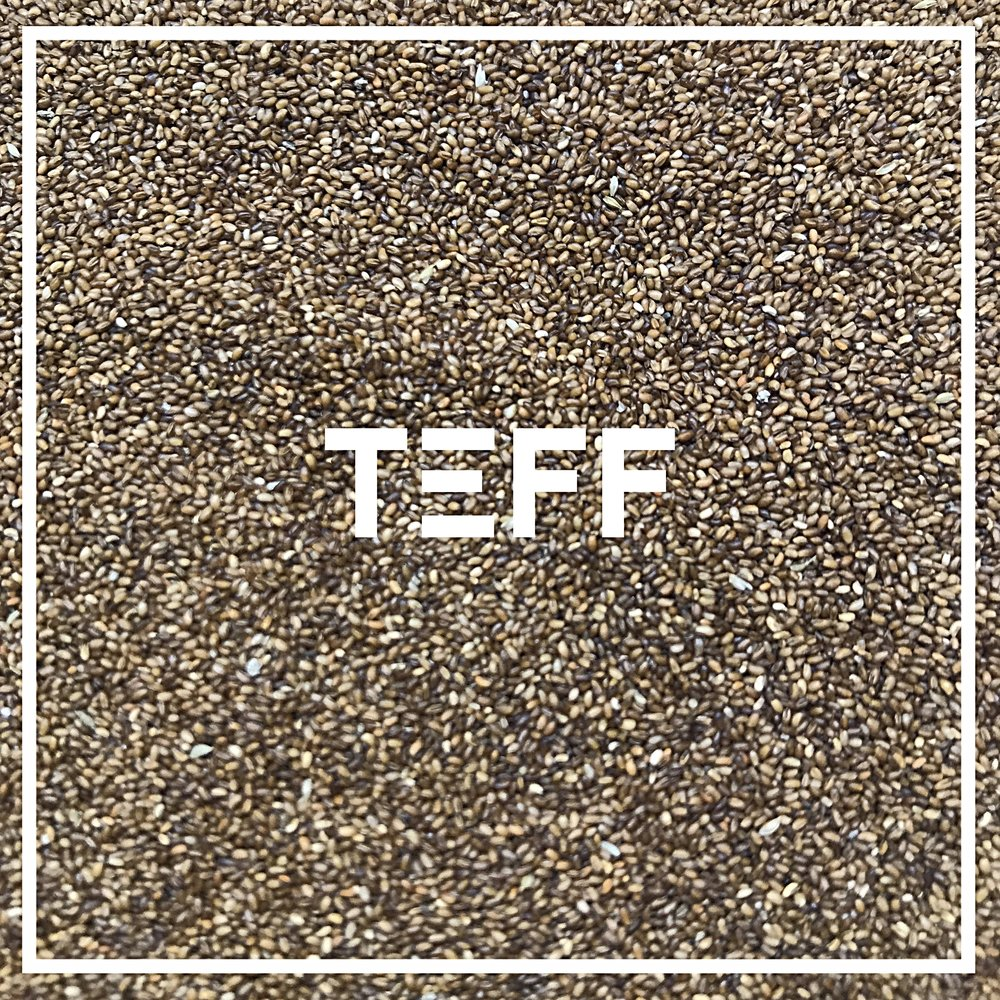 Our Teff is grown in the snake river valley of Idaho, by Maskal Teff. Founded by Wayne Carlson, the first person to successfully grow Teff in the United States.  Used in: 1776 Tef,f a small seed, is the staple grain of Ethiopia; typically made into the sour, spongy Injera bread. It is devilishly difficult to grow, and we are glad that they have mastered it in Idaho. We use un-milled, whole grain teff seeds for their delicate crunch, their rich buttery flavor, and their incredible nutritional value.