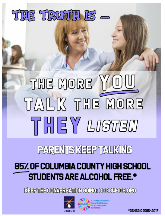 85% of Columbia County high school students are alcohol free.