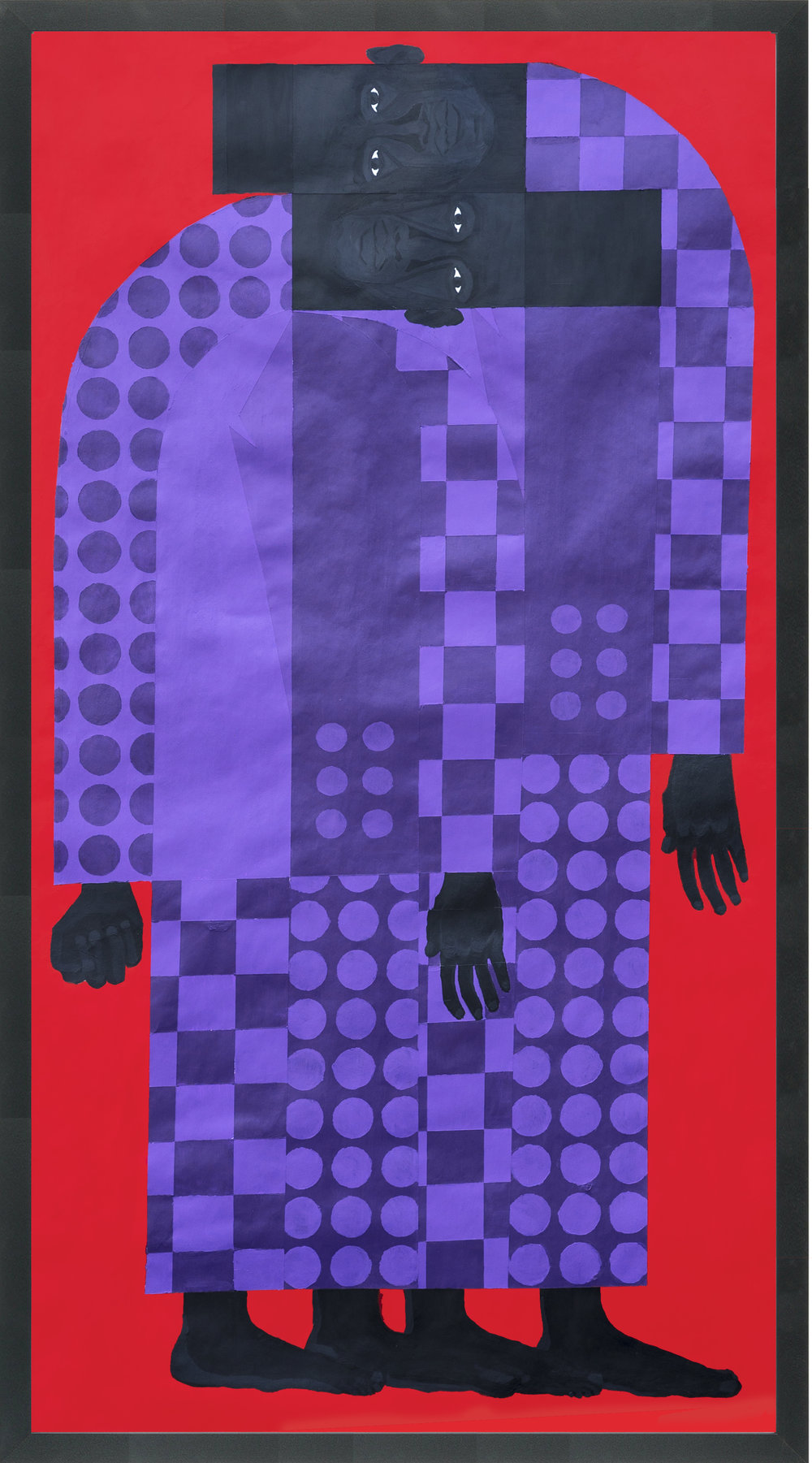 "Title: Man in the Violet Suit No.6 (Twins No.1) Artist: Jon Key Year: 2017 Medium: Acrylic on paper Dimensions: 60"" x 35"" Price: $5000  SOLD"