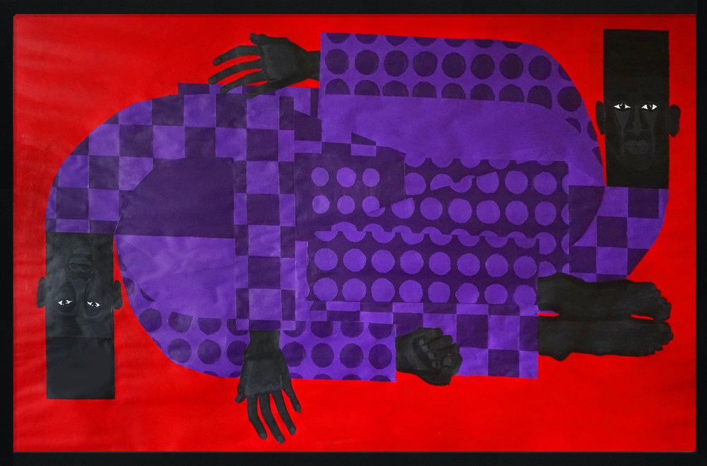 "Title: The Twins in the Violet Suit No.3 Artist: Jon Key Year: 2018 Medium: Acrylic on paper Dimensions: 35"" x 52"" Price: $4500  SOLD"