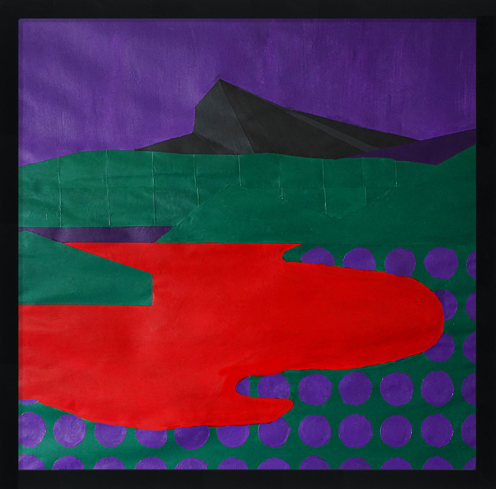 "Title: Violet Dreamscape No.4 (Hudson) Artist: Jon Key Year: 2018 Medium: Acrylic on Paper Dimensions: 25"" x 25"" Price: $2500"
