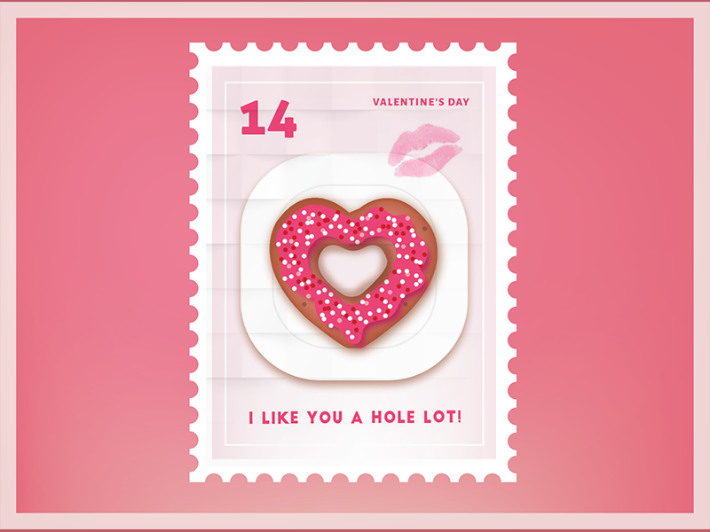I like you a hole lot Valentine Stamp