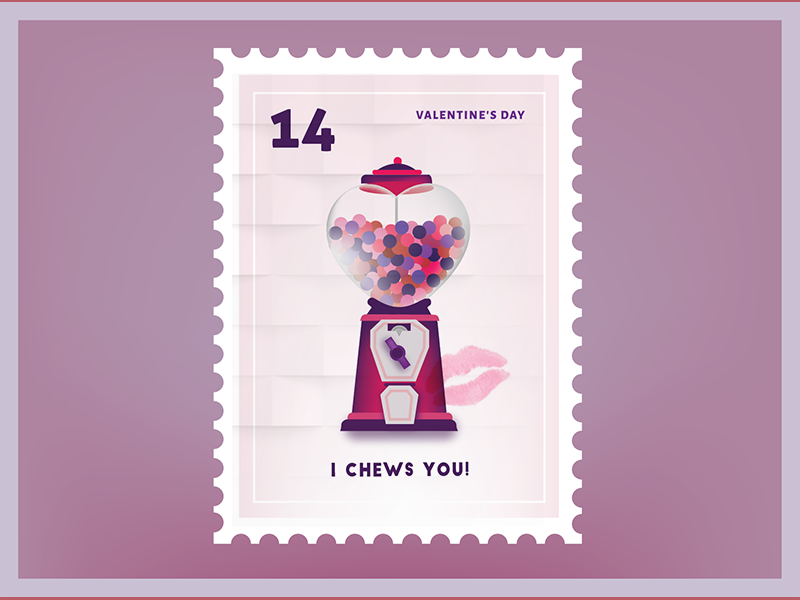 I chews you! Valentine Stamp
