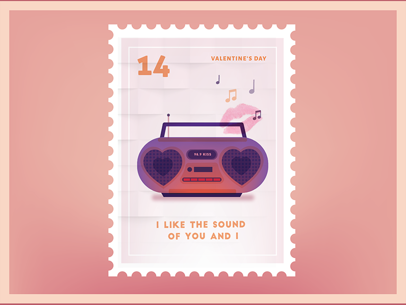 I like the sound of you and I Valentine Stamp