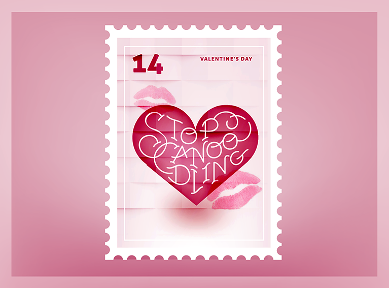 Stop Canoodling Valentine Stamp