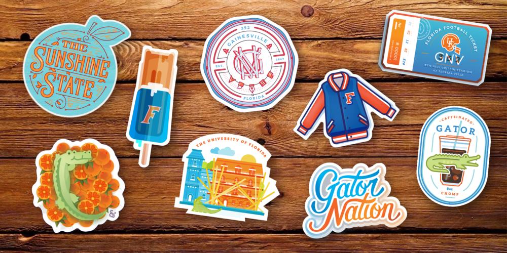 University of Florida Sticker Designs by Caroline Staniski