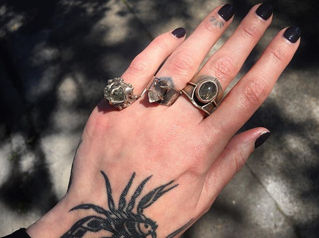 No color but so much personality!!! 🖤🆒 I always find myself staring into the different types of quartz in these awesome rings by @acidqueenjewelry  Available in store or on shopgemgem.com, see our story today for a direct link to our selection of her rings.