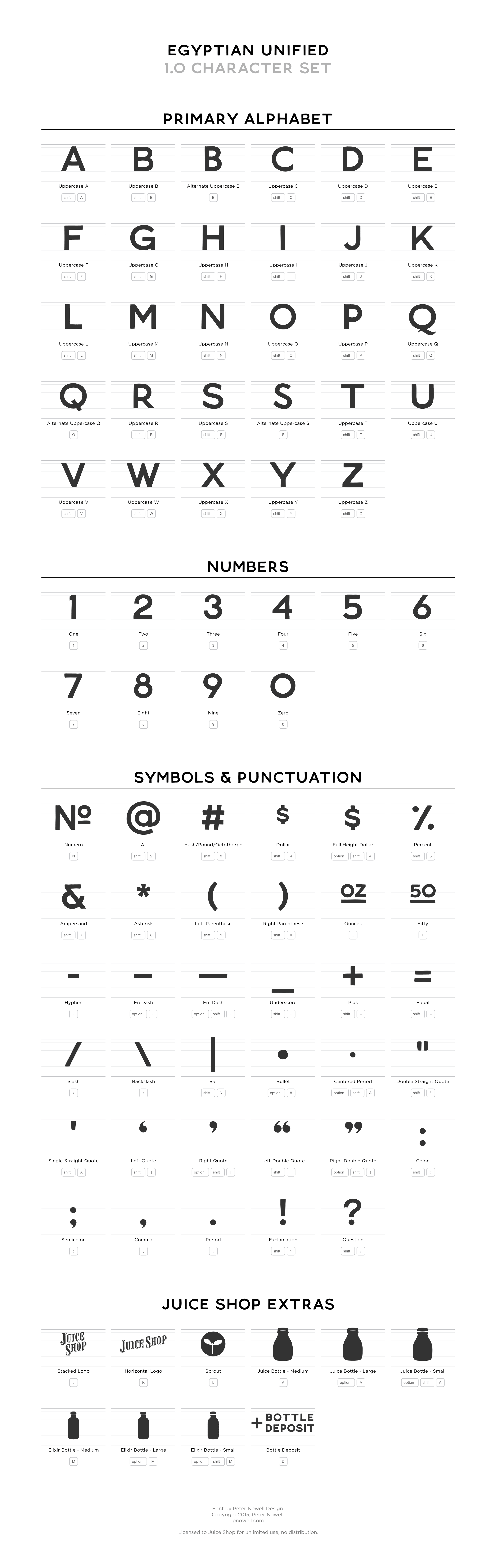 Egyptian Unified Font Character Set