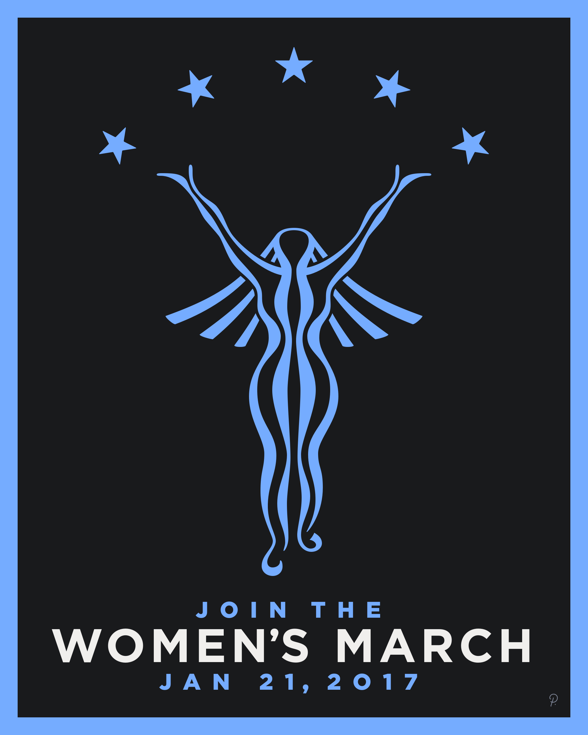 Black-Blue Women's March Poster