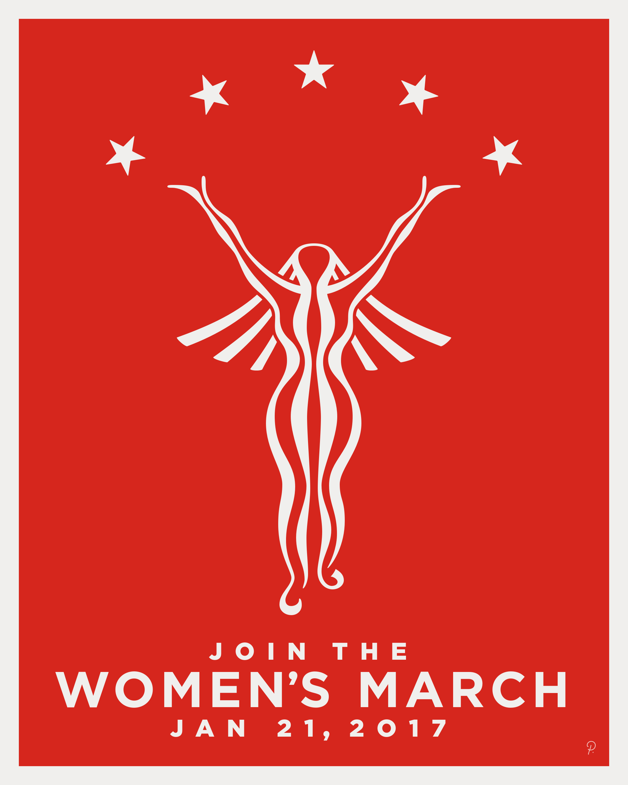Solid Red Women's March Poster